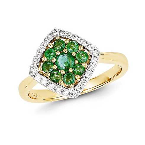 14kt Yellow Gold 5/8 ct Emerald Fancy Cluster Ring with Diamonds