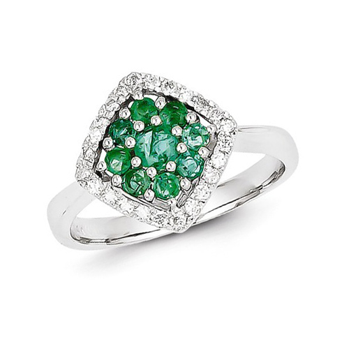 14kt White Gold 5/8 ct Emerald Fancy Cluster Ring with Diamonds