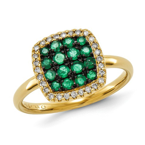 14kt Yellow Gold 2/3 ct Emerald Cluster Ring with Diamonds