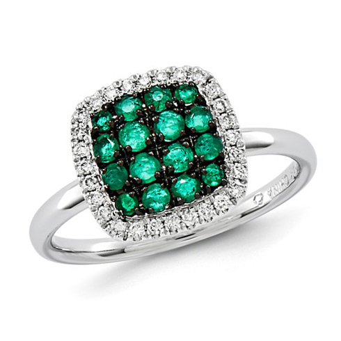 14kt White Gold 2/3 ct Emerald Cluster Ring with Diamonds