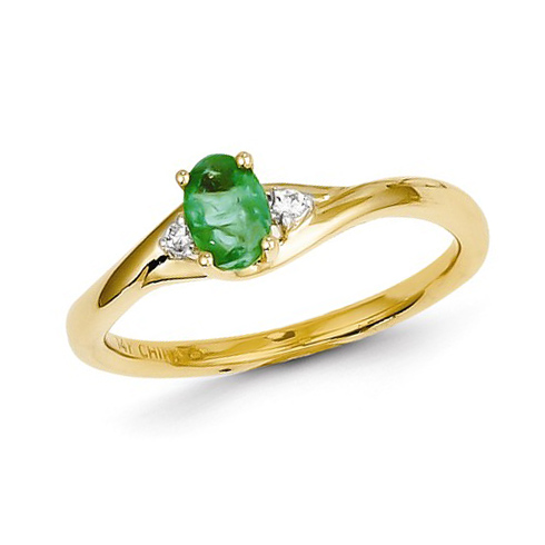 14kt Yellow Gold 1/2 ct Oval Emerald Ring with Two Diamond Accents