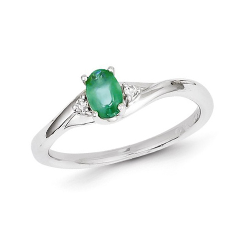 14kt White Gold 1/2 ct Oval Emerald Ring with Two Diamond Accents