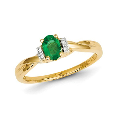 14kt Yellow Gold .47 ct tw Oval Emerald Ring with Diamonds