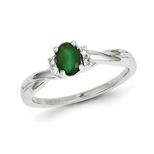 14kt White Gold .47 ct tw Oval Emerald Ring with Diamonds