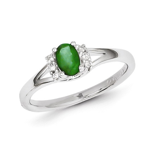 14kt White Gold 1/2 ct Oval Emerald Ring with .07 ct Diamond Accents