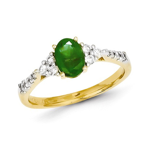 14kt Yellow Gold 4/5 ct Oval Emerald Ring with Diamonds