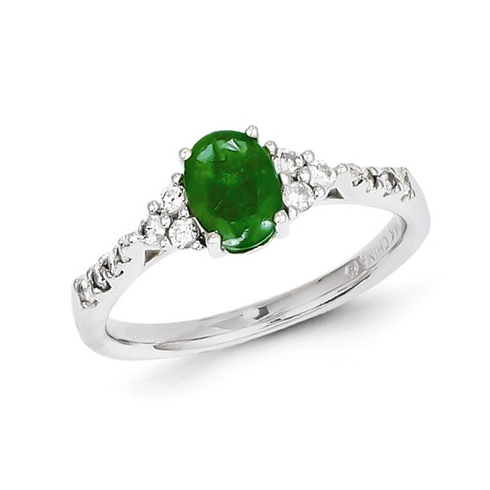 14kt White Gold 4/5 ct Oval Emerald Ring with Diamonds