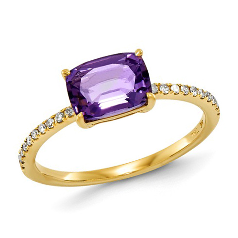 14kt Yellow Gold 1.3 ct Amethyst Ring with Diamonds