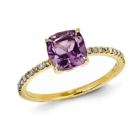 14kt Yellow Gold 1.1 ct Square Amethyst Ring with Diamonds