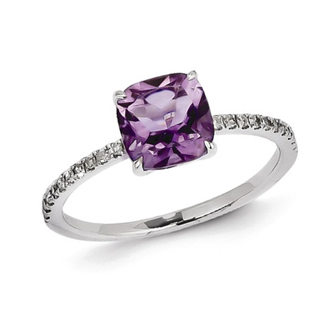 14kt White Gold 1.1 ct Square Amethyst Ring with Diamonds