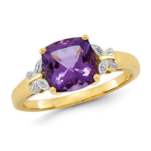 14kt Yellow Gold 1.7 ct Square Amethyst Ring with Diamond Accents