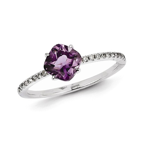 14kt White Gold 0.70 ct Square Amethyst Ring with Diamond Accents