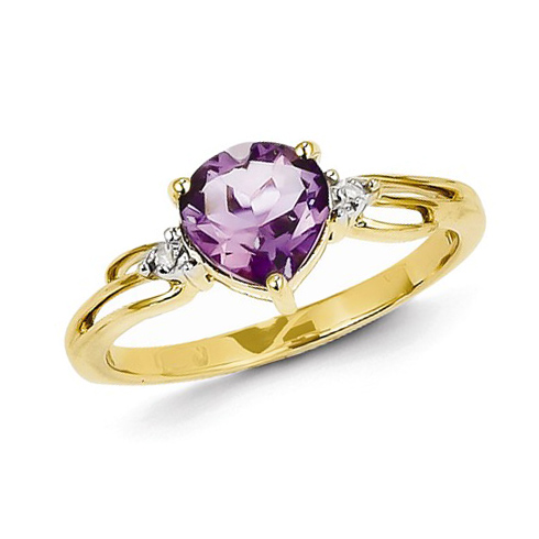 14kt Yellow Gold 0.80 ct Heart Amethyst Ring with Diamond Accents