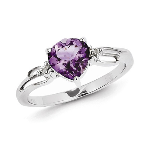 14kt White Gold 0.80 ct Heart Amethyst Ring with Diamond Accents