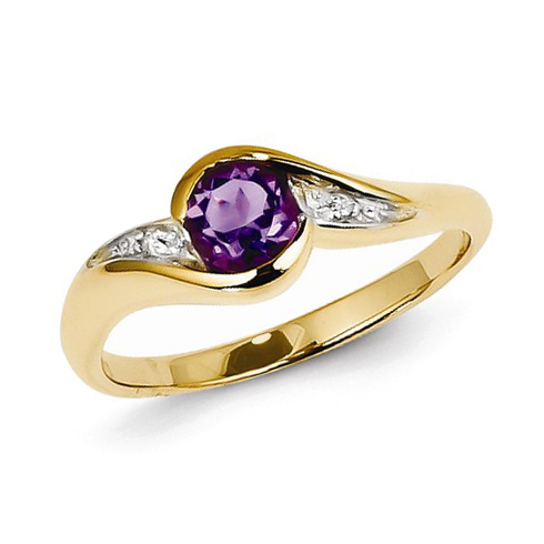 14kt Yellow Gold .37 ct Amethyst Ring with Diamond Accents