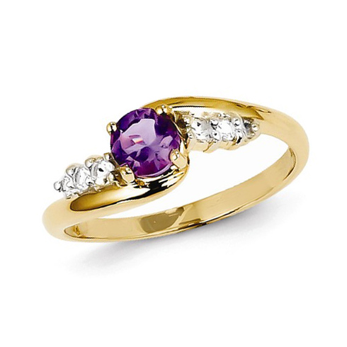 14kt Yellow Gold 1/2 ct Amethyst Ring with White Topaz
