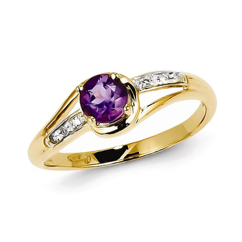 14kt Yellow Gold .37 ct Amethyst Ring with Diamonds