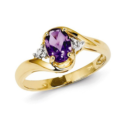 14kt Yellow Gold 3/5 ct Oval Amethyst Ring with Diamonds