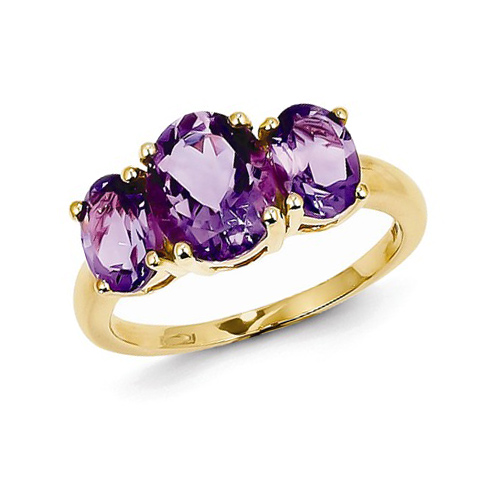 14kt Yellow Gold 2.7 ct Three Stone Amethyst Ring