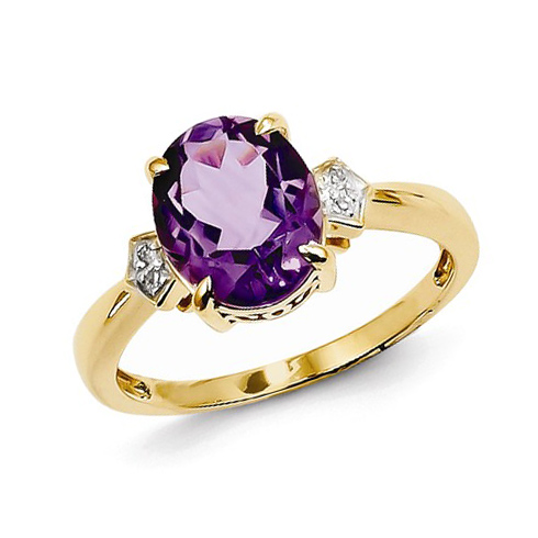 14kt Yellow Gold 2.4 ct Oval Amethyst Ring with Diamonds