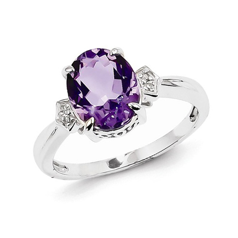 14kt White Gold 2.4 ct Oval Amethyst Ring with Diamonds