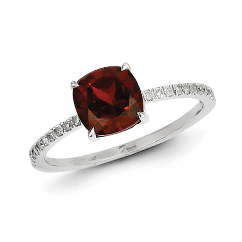 14kt White Gold 1 4 Ct Square Garnet Ring With Diamonds