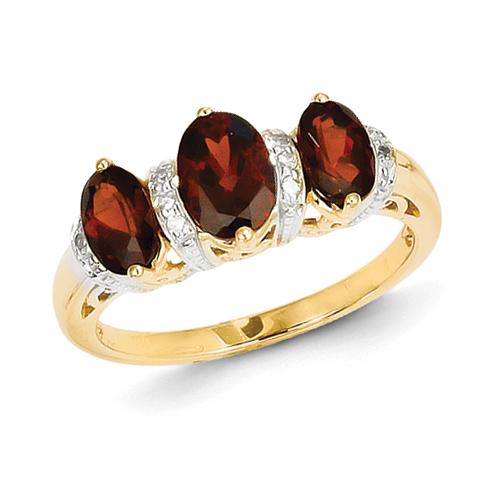 14kt Yellow Gold 1.5 ct Three Stone Garnet Ring with Diamonds