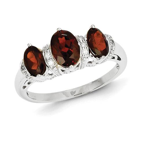 14kt White Gold 1.5 ct Three Stone Garnet Ring with Diamonds