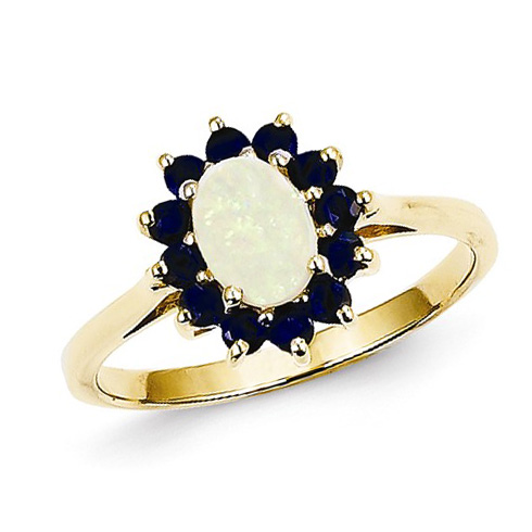 14kt Yellow Gold 1/2 Ct Oval Opal Halo Style Ring with Sapphire Accents