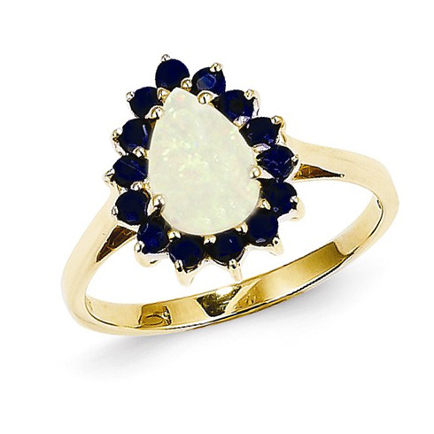 14kt Yellow Gold 2/3 Ct Pear Opal Halo Ring with Sapphire Accents