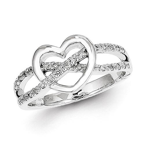 14kt White Gold 1/8 ct Diamond Heart Crossover Promise Ring