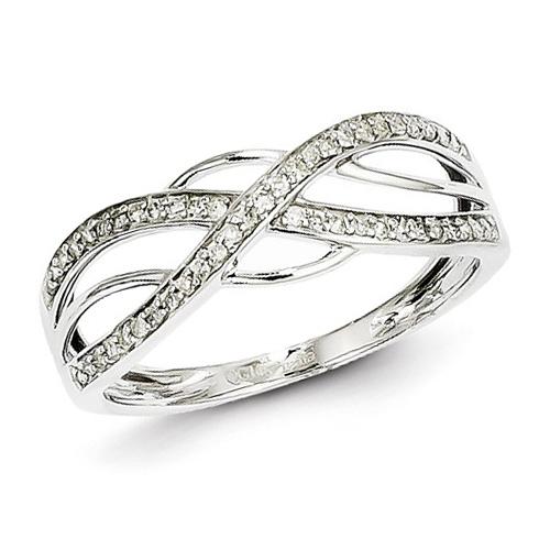 14kt White Gold 1/8 ct Diamond Intercross Ring