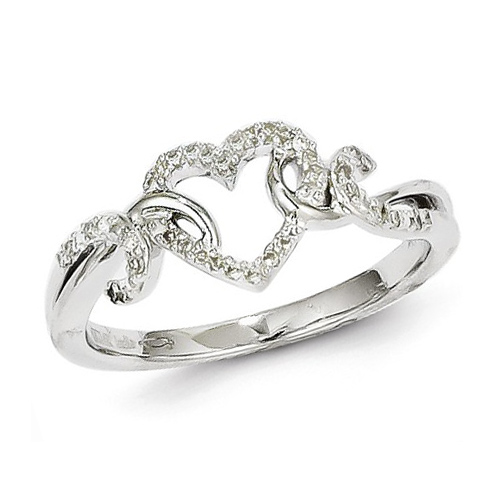 14kt White Gold 1/10 ct Diamond Fancy Heart Ring