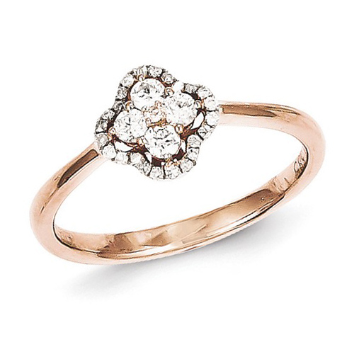 14kt Rose Gold 1/4 ct Diamond Flower Promise Ring