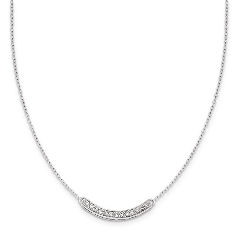 14kt White Gold 1/6 ct Diamond Curved Bar Necklace