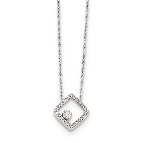 14kt White Gold 1/10 ct Diamond Open Square Necklace