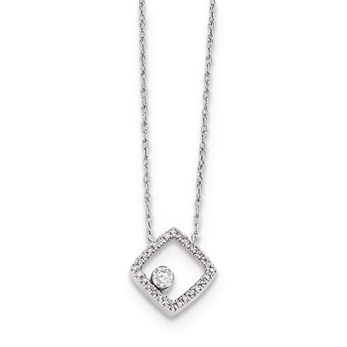 14kt White Gold 1/10 ct Diamond Open Square Necklace