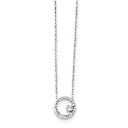 14kt White Gold 1/10 ct Diamond Open Circle Necklace