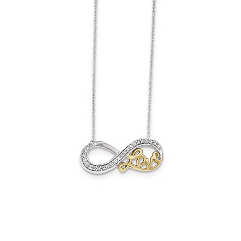 14kt Two-tone Gold 1/6in ct Diamond Love Infinity 18in Necklace