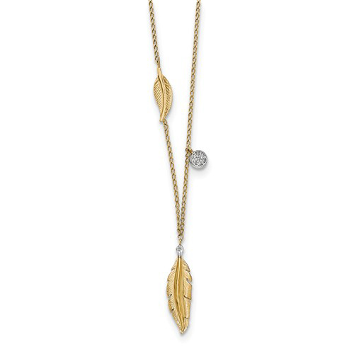 14kt Yellow Gold Feather Necklace with Diamonds