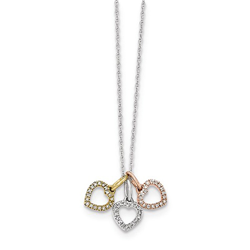 14kt Tri-tone Gold Diamond Hearts Necklace