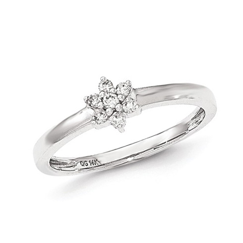 14kt White Gold 1/8 ct Diamond Flower Promise Ring