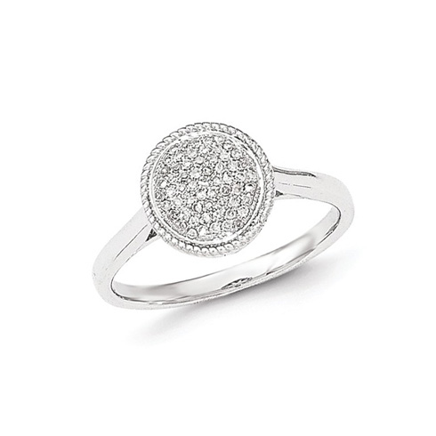 14kt White Gold 1/8 ct Diamond Pave Circle Ring
