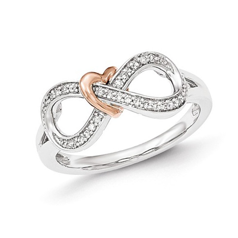 14kt White and Rose Gold 1 2 ct Diamond Infinity Heart Promise Ring Y AA