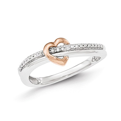 14kt White and Rose Gold .03 ct Diamond Heart Promise Ring