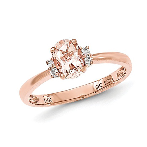 14kt Rose Gold 3/4 ct Oval Morganite Ring with Diamonds