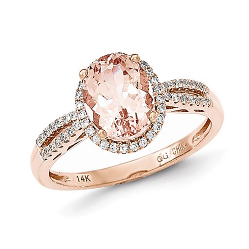 14kt Rose Gold 2 ct Oval Morganite Ring with 1/5 ct Diamond Accents