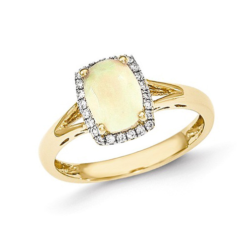 14kt Yellow Gold 1.1 Ct Oval Opal Halo Style Ring with Diamond Accents