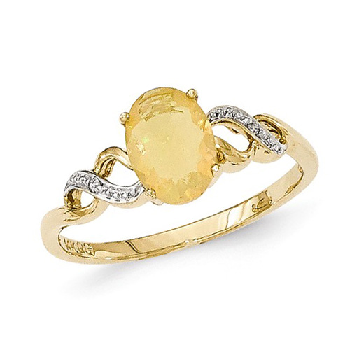 14kt Yellow Gold 3/4 Ct Oval Opal Fancy Ring with Diamonds