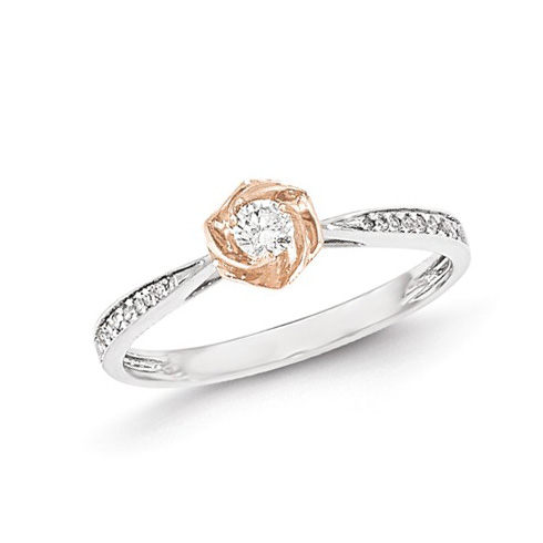 14kt White and Rose Gold 1/6 ct Diamond Tapered Promise Ring
